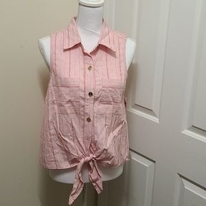 NWT MK Button Up Tie Front Sleeveless Top